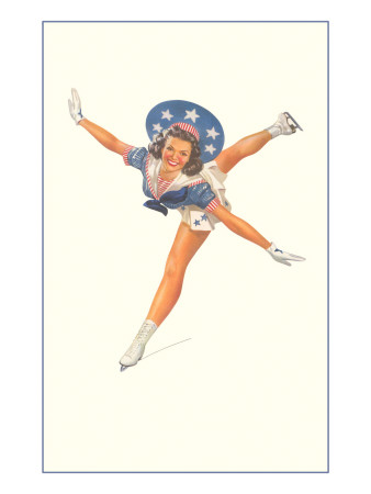 Lady Ice Skater with Patriotic Outfit Prints