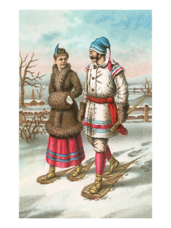 Exotic Couple on Snow Shoes Premium Poster
