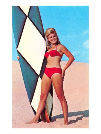Surfer Girl in Red Two-Piece Art