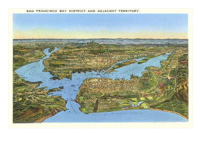 Mapa en relieve de San Francisco, California Premium Poster