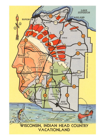 Map of Indian Head Country, Wisconsin Art