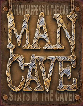 Man Cave - Diamond Plate Blikskilt