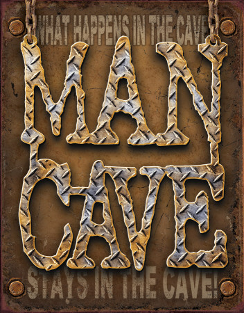 Man Cave - Diamond Plate Cartel de chapa