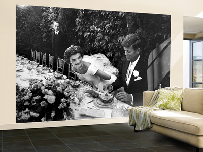 Sen. John Kennedy and His Bride Jacqueline in Their Wedding Attire Wall Mural – Large