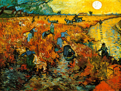 The Red Vineyard at Arles, c.1888 Kunsttryk