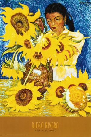 """Muchacha con girasoles"" Diego Rivera"