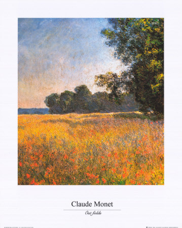 Oat Fields Konst av Claude Monet