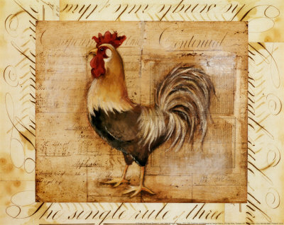 Rustic Farmhouse Rooster II Print by Kimberly Poloson