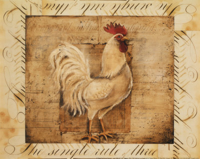 Rustic Farmhouse Rooster I Poster by Kimberly Poloson