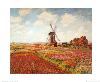 Tulip Fields with the Rijnsburg Windmill Print by Claude Monet