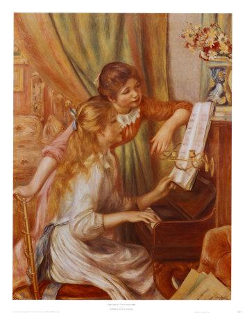 Muchachas tocando el piano Láminas por Pierre-Auguste Renoir