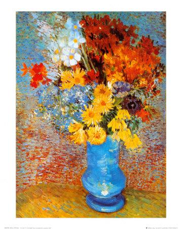 花瓶の雛菊とアネモネ 1887年 ポスター : フィンセント・ファン・ゴッホ