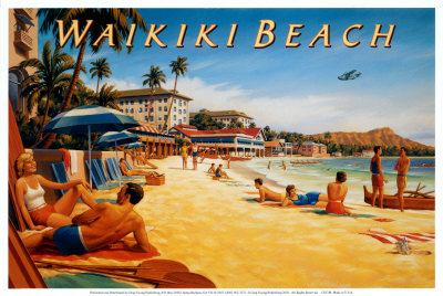 Waikiki Beach graphic image art print, popular college travel destination