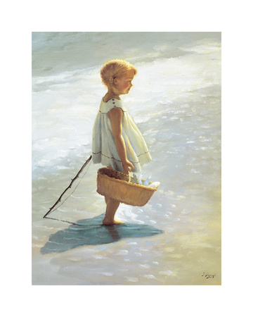 Young Girl on a Beach Art by I. Davidi
