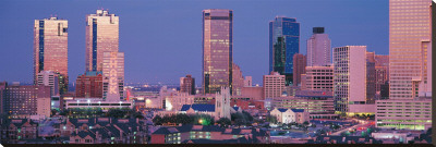 Fort Worth Skyline I Stretched Canvas Print