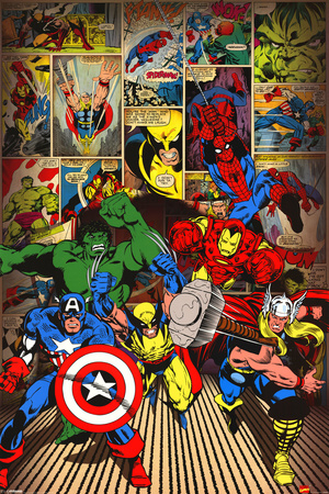 Marvel-Here Come the Heroes Póster