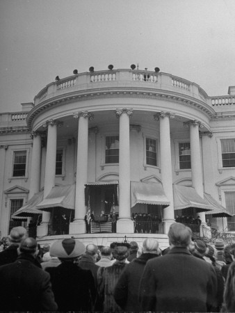 Crowd Standing Outside White House During Inauguration of President Franklin D. Roosevelt Premium Photographic Print