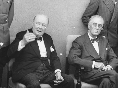 Winston Churchill and Franklin Roosevelt Sitting Together Premium Photographic Print