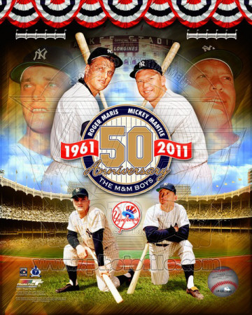 Roger Maris & Mickey Mantle 50th Annivesary Portrait Plus Photo