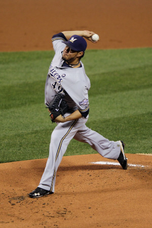 Milwaukee Brewers v St. Louis Cardinals - Game Three, St Louis, MO - October 12: Yovani Gallardo Photographic Print