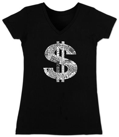 Juniors: V-Neck - Dollar Sign T-Shirt