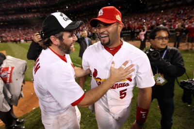 Game 7 - Rangers v Cardinals, St Louis, MO - October 28: Albert Pujols and Lance Berkman Photographie