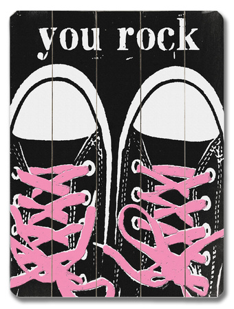 You Rock - Pink Laces Wood Sign