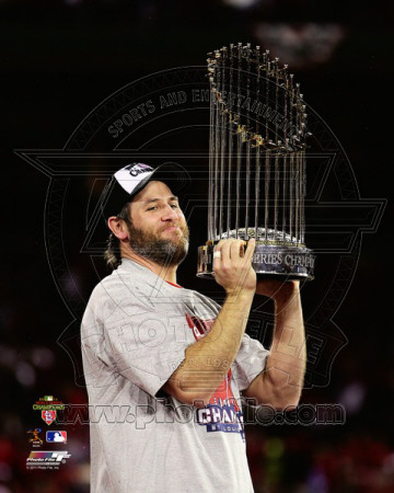 Lance Berkman with the World Series Championshop Trophy Game 7 of the 2011 MLB World Series (44) Photo