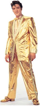 Elvis Presley - zlatý oblek Poutače se stojící postavou