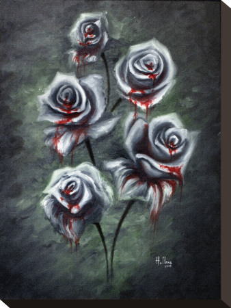 Blood Roses Stretched Canvas Print by Bobby Holland