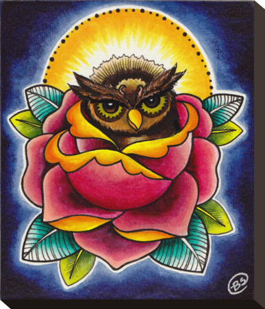 Owl and Rose Stretched Canvas Print by Brittany Morgan