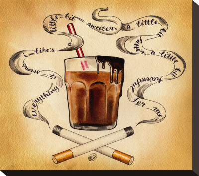 Cigarettes and Chocolate Stretched Canvas Print by Brittany Morgan