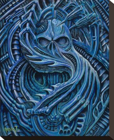 Blue Bio Stretched Canvas Print by  Roman (Artist)