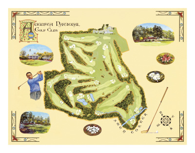 Golf Course Map, Augusta Posters by Bernard Willington