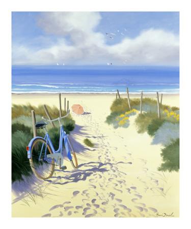 Velo Bleu Parasol Rouge Prints by Henri Deuil