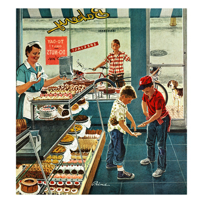 """Doughnuts for Loose Change"", March 29, 1958 Stampa giclée di Ben Kimberly Prins"