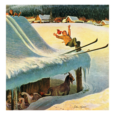 """Barn Skiing"", February 17, 1951 Giclee Print by John Clymer"