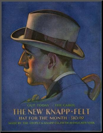 Knapp-Felt, Magazine Advertisement, USA, 1920 Mounted Print