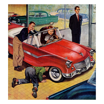 """""""Automobile Showroom"""", December 8, 1956 Giclee Print by Amos Sewell"""