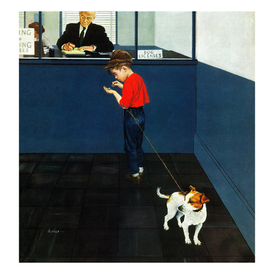 """Dog License"", June 21, 1952 Giclee Print by George Hughes"