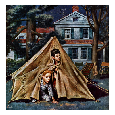 """""""Backyard Campers"""", September 5, 1953 Giclee Print by Amos Sewell"""
