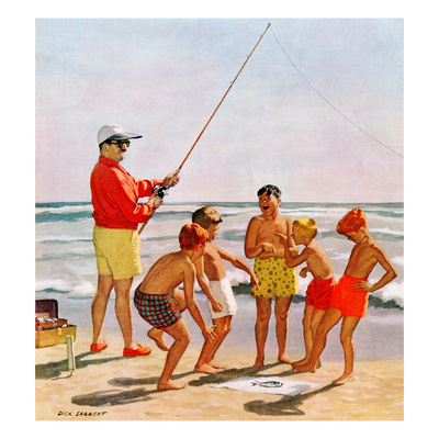 """Big Pole Little Fish"", September 1, 1956 Giclee Print by Richard Sargent"