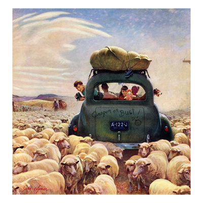 """Oregon or Bust"", August 4, 1951 Giclee Print by John Clymer"