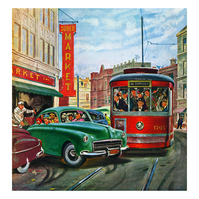 """""""Parallel Parking"""", April 1, 1950 Giclee Print by Thornton Utz"""