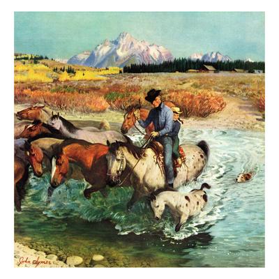 """""""Herding Horses"""", September 13, 1952 Giclee Print by John Clymer"""