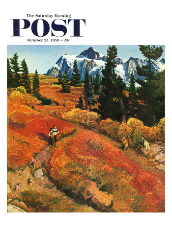 """Fall Photo Op"" Saturday Evening Post Cover, October 25, 1958 Giclee Print by John Clymer"