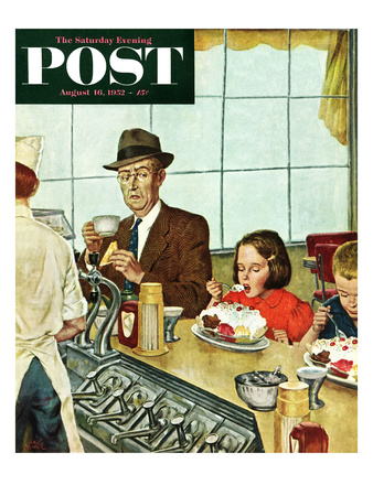 """""""Banana Split"""" Saturday Evening Post Cover, August 16, 1952 Giclee Print by Amos Sewell"""