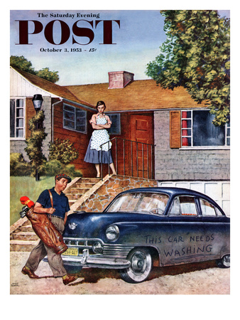 """""""This Car Needs Washing"""" Saturday Evening Post Cover, October 3, 1953 Giclee Print by Amos Sewell"""