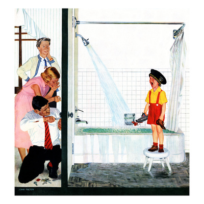 """""""Overflowing Tub"""", December 3, 1955 Giclee Print by John Falter"""