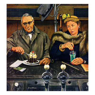 """Soda Fountain Dieter"", January 30, 1954 Stampa giclée di Stevan Dohanos"